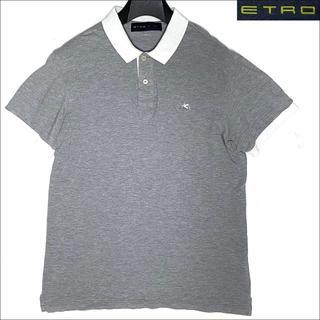 エトロ(ETRO)のJ3561 美品 エトロ ペイズリー柄切替 鹿の子 ポロシャツ グレー M(ポロシャツ)