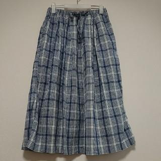 ムジルシリョウヒン(MUJI (無印良品))の無印良品 チェック ロング コットン スカート M(ロングスカート)