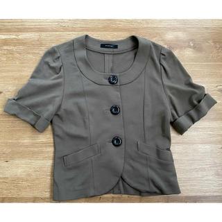 インタープラネット(INTERPLANET)のインタープラネット襟なし半袖ジャケット(ノーカラージャケット)