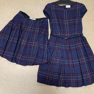 エフデ(ef-de)のエフデのカタログ掲載のベルト付きチェックワンピースとスカートの2点セット(ひざ丈ワンピース)