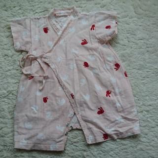 赤ちゃん女の子甚平・ピンクウサギ柄・60-70(甚平/浴衣)