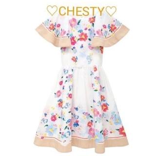 Chesty - Chesty♡袖付きフラワーワンピース🌺サイズ1♡ベージュ♡