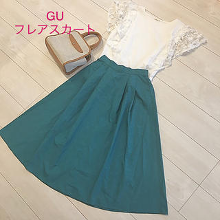 GU - 美品 GU タックフレアスカート  グリーン