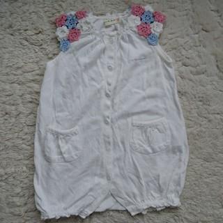 赤ちゃんロンパース・KnitPlanner・70・花刺繍(肌着/下着)