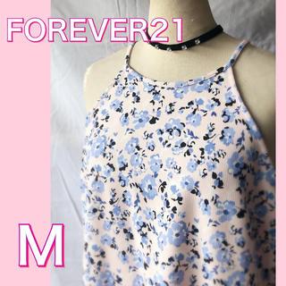 フォーエバートゥエンティーワン(FOREVER 21)のFOREVER21 キャミワンピ ピンク 小花柄 ワンピース(ミニワンピース)