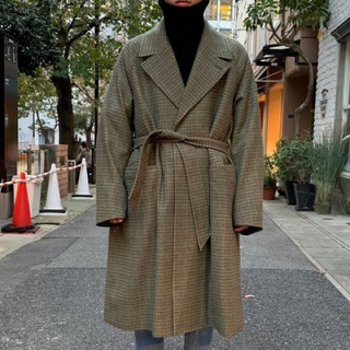 SUNSEA - URU WOOL CHECK BELTED COAT 19aw