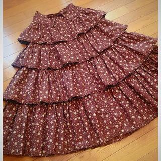 PINK HOUSE - ワンダフルワールド♡豪華♡小さなローズ柄の段々前開きロングスカート♡