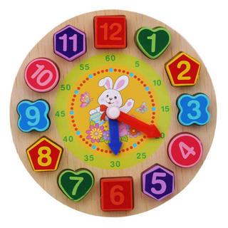 うさぎ 時計パズル 紐通し 指先 知育 つまむ おもちゃ 木製 モンテッソーリ(知育玩具)