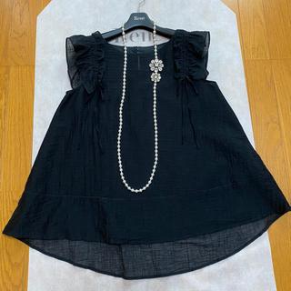 ルネ(René)のルネ シフォン ブラウス 34 ブラック(シャツ/ブラウス(半袖/袖なし))