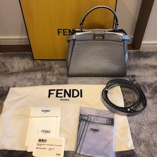 フェンディ(FENDI)のFENDI ピーカブーミニ ミニピーカブー シルバー 美品(ショルダーバッグ)