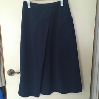 ムジルシリョウヒン(MUJI (無印良品))の無印良品 縦横ストレッチチノイージーセミフレアスカート 婦人M・ブルー(ロングスカート)