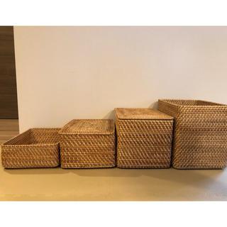 ムジルシリョウヒン(MUJI (無印良品))の無印良品 積み重なるラタンボックス(バスケット/かご)