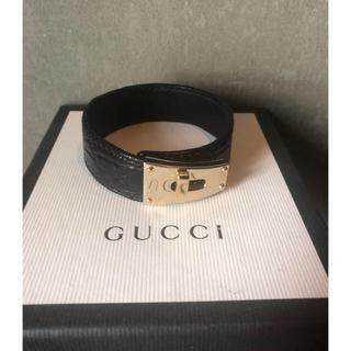 グッチ(Gucci)のグッチ レザーブレスレット ブレスレット ブラック(ブレスレット)