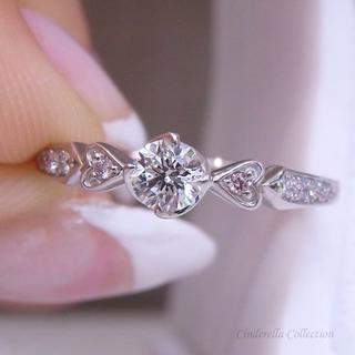 大特価★Pt900天然ダイヤモンド★ハートとピンクダイヤ添えのお姫様リング