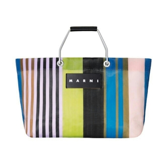 Marni - マルニ マルニフラワーカフェ ストライプバッグミニ トートバッグ