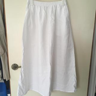 ムジルシリョウヒン(MUJI (無印良品))の無印良品 リネン ロングスカート 白M(ロングスカート)
