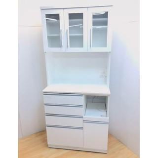 食器棚 レンジボード キッチンボード エナメルホワイト 2020年納品モデル(キッチン収納)