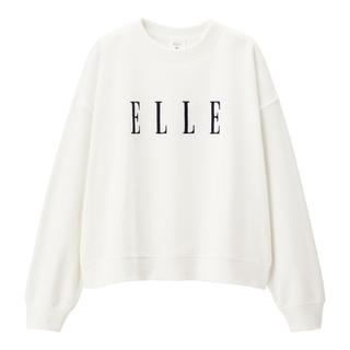 GU - GU ELLEコラボスウェット 刺繍 Sサイズ オフホワイト 超大型店限定