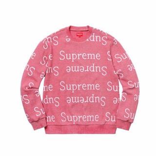 Supreme - 正規品 Supreme Jacquard ロゴスウェットシャツ ピンク