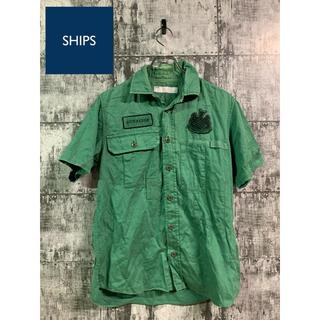 SHIPS - ships シップス designワッペン 半袖シャツ アメカジ グリーン緑