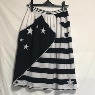 レオナール(LEONARD)のレオナール 白黒マリン柄スカート(ひざ丈スカート)