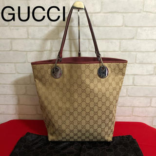 Gucci - グッチ GUCCI GGキャンバス トートバッグ 赤