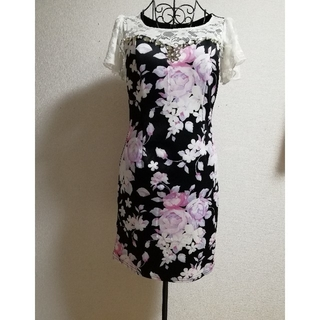 デイジーストア(dazzy store)のドレス ワンピース タイト ミニレース フリル 花柄 フラワー 柄バラ(ミニドレス)