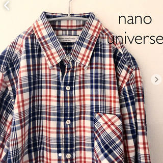 ナノユニバース(nano・universe)のナノユニバース  チェックシャツ  七分袖 Lサイズ nano universe(シャツ)