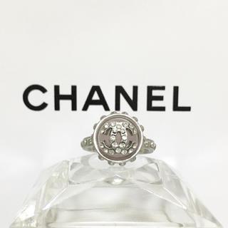 CHANEL - 正規品 シャネル 指輪 シルバー ココマーク ラインストーン 銀 リング ピンク
