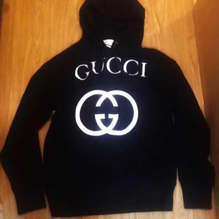 Gucci - GUCCI 黒 インターロッキング パーカー スウェット グッチ