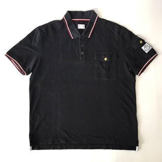 MONCLER - 【H】モンクレール ガムブルー 袖ワッペン トリコロール ポロシャツ 紺 XL