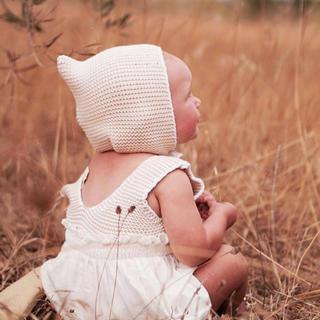 Caramel baby&child  - 美品 liilu ボンネット 6-18m ニットピクシーボンネット 帽子