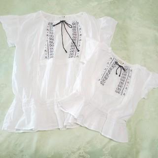 ブランシェス(Branshes)のBRANSHES ブランシェス 半袖刺繍カットソー110とママのセット(Tシャツ/カットソー)