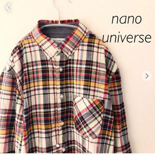 ナノユニバース(nano・universe)のナノユニバース  チェックシャツ  七分袖 Mサイズ nano universe(シャツ)