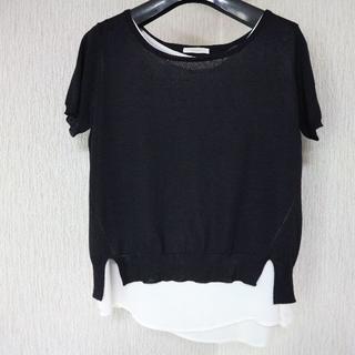 テチチ(Techichi)の美品テチチ/重ね着風バックレース半袖カットソーM/ブラウス(カットソー(半袖/袖なし))