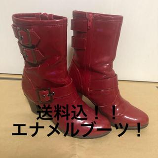 ダイアナ(DIANA)の☆送料込☆ダイアナ エナメル ショートブーツ(赤)(ブーツ)