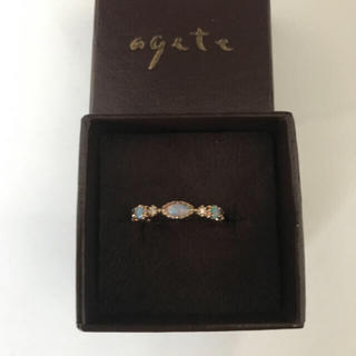 agete - K14YG オパール・ダイヤモンド 付リング