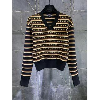 ルイヴィトン(LOUIS VUITTON)のLouis Vuitton 花びらスパンコール Vネックストライプセーター(ニット/セーター)