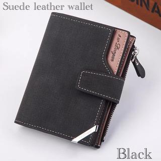 財布 二つ折り財布 スエード レザー 札入れ 小銭入れ カード入れ ブラック(折り財布)