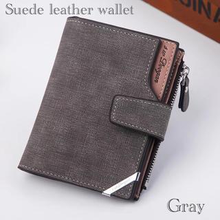 財布 二つ折り財布 スエード レザー 札入れ 小銭入れ カード入れ グレー(折り財布)