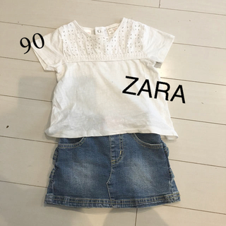ZARA - ZARA レースTシャツ デニムスカート セット 90