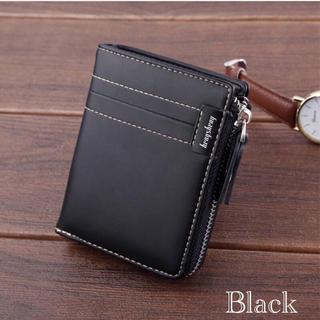 財布 二つ折り財布 レザー 札入れ 小銭入れ カード入れ ブラック(折り財布)