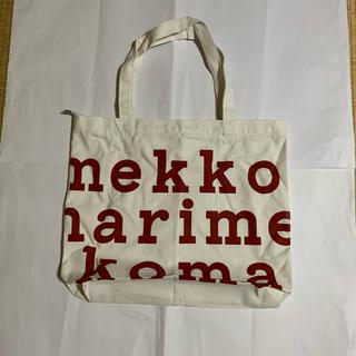 marimekko - 回り白 文字赤 マリメッコ トートバック