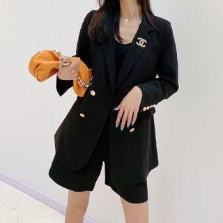 シャネル CHANEL スカートスーツ セットアップ パープル ココマークボタン