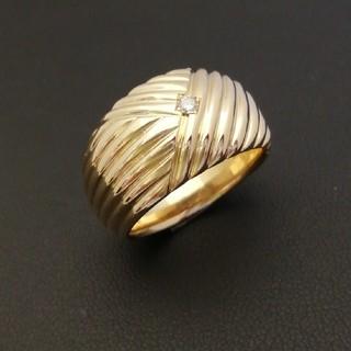K18YG プチ❇️ダイヤ❇️金表面ww幾何学模様デザイン! 重量感あり♥️(リング(指輪))