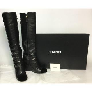 シャネル(CHANEL)のシャネル レザー ロングブーツ ベロア切替 0562-12(レインブーツ/長靴)