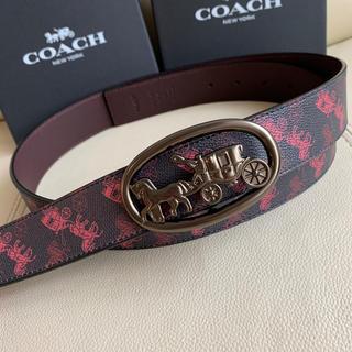 COACH - COACH コーチ 新作馬車 メンズ リバーシブル ブラックxレッド ベルト