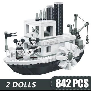 Lego - ディズニー蒸気船ウィリー レゴLEGO互換ブロックミニフィグ2体付き ミッキー