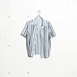 yoke open collar stripe shirt white S