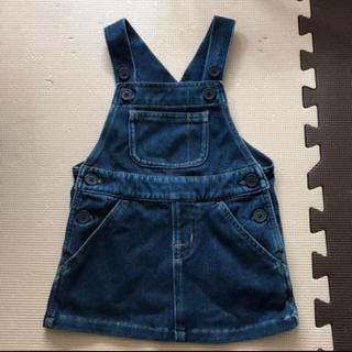 ムジルシリョウヒン(MUJI (無印良品))の無印良品 サロペット オーバースカート 80 デニム風柔らかストレッチ素材(ワンピース)